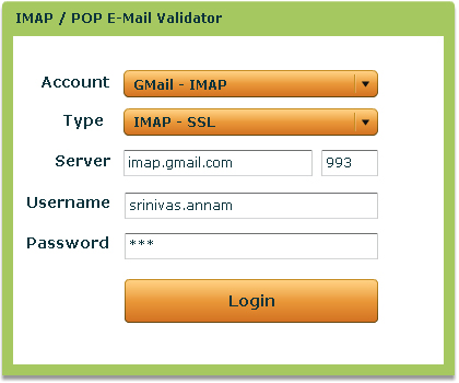 E-Mail Validator Example Screenshot